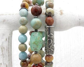 mixed gemstone bracelet, bird bracelet, autumn colors, labradorite, chrysoprase, jasper, amazonite, Hill Tribe silver, bird jewelry, nature