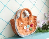 Mini Honey Orange Leather Fashion Heart Flower Doll Hand Bag For Azone Pure Neemo Pukifee Lati Neo Blythe HandMade