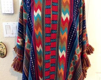 ON HOLD....Amazing womens vintage 1970's hippie/boho poncho/shirt. Size M/L/XL
