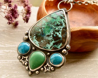 SOLD! --------------------------Azurite Necklace, Turquoise Pendant, Turquoise Jewelry, Chrysoprase Jewelry
