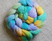 Roving (Top) braid of spinning fiber - Targhee 80 silk 10 Bamboo 10 blend **  colorway Leprechaun