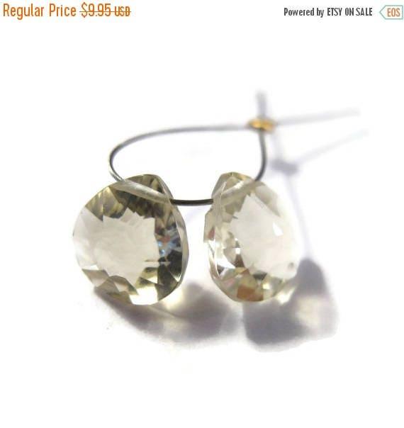 SALE 50% off - Two Lemon Quartz Beads, 2 Yellow Gemstone Briolettes, AAA Quality Concave Cut Matched Pair, 9mm-11mm Stones (Pt-Lq1)