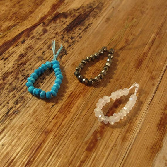 Three 20 Count Strands of Turquoise, Moonstone and Pyrite, Small 3.5-4mm Rondelles, 20 Rondelle Beads for Making Jewelry