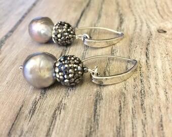 Long Silver Hoop black pave Baroque black Pearl Earrings-Grey Baroque nucleaded Pearl Earrings silver-Large Baroque pearl earrings-hematite