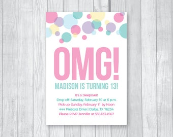 Custom Printable 5x7 Tween To Teen Girl's 13th Thirteen Birthday Party Invitation - Colorful Pastel Confetti - Digital Download