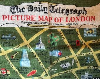 Picture Map of LONDON - Vintage Irish Linen Tea Towel The Daily Telegraph Wonderful Graphics