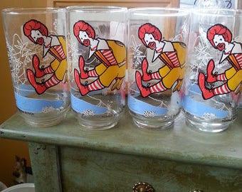 Vintage 1977 Ronald McDonald Action Drinking Glasses Set of Four