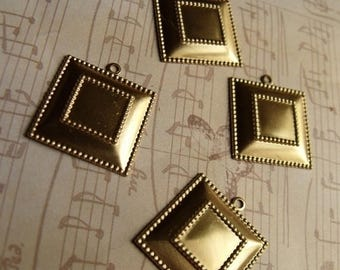 SALE 20% Off Brass 20mm Square 10mm Settings Charms 6 Pcs