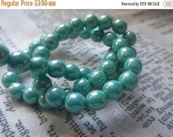 SALE 20% Off Opaque Turquoise Luster Round 6mm Druk Beads 50 Pcs