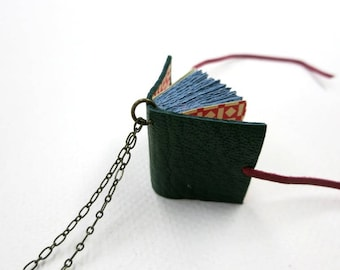 Green Leather book necklaces, Book pendant, leather journal, jewelry, mini diary, miniature journal, hand made, paper goods, green leather