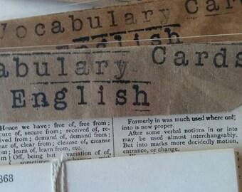 Vintage Ephemera English Vocabulary Cards