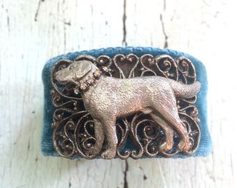 French Blue Velvet Labrador Retriever Adjustable Cuff Bracelet