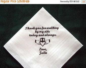 ON SALE Father of the Bride with Gift Box 124S with shipping in the Us Personalized Wedding Handkerchief