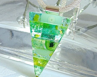 Green, Aqua Necklace, Dichroic Glass Pendant, Fused Glass Jewelry, One of a Kind, Murrini, Necklace Included, A11