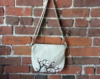 Magnolia Linen Canvas Crossbody Bag - Zipper Closure Purse Screen-printed