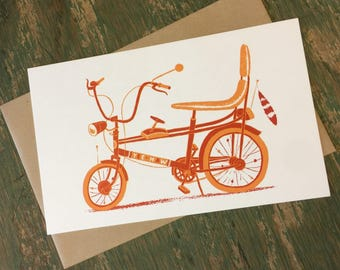 CHOPPER BICYCLE card Hand Printed Letterpress print with Kraft Envelope gift for cyclists handmade vintage bicycle art
