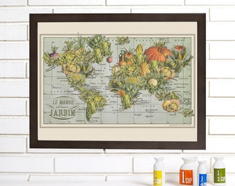 French Garden Map, Vintage Map Art, Vegetable World Map Lithograph