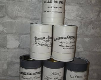 Painted Tin Cans ~ Shabby French ~ Decoupage Tin Can ~ Lot of 6 Painted Tin Cans ~ Farmhouse Decor ~ French Decor ~ Upcycled Tin Can