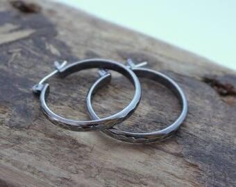 Sterling Silver Rustic Click Latch Hoop Earrings