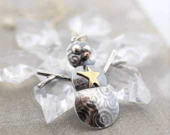 Christmas Gift for Her - Sterling Silver Snowman Necklace