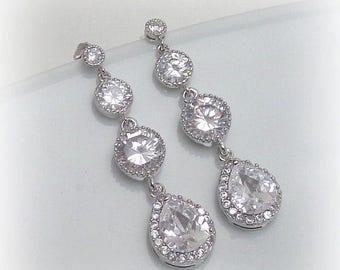 15% OFF Bridal Bridesmaid Earrings, Cubic Zirconia Earrings, Bridal Earrings, Silver Wedding Jewelry, Bridal Jewelry