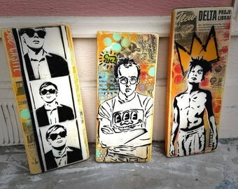 Andy Keith and Jean Original Graffiti Art Paintings on Wood Panel Modern Pop Art Icons on Canvas Handmade Art Home Decor