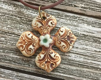 Florentine Cross Pendant With Single Celadon Flower