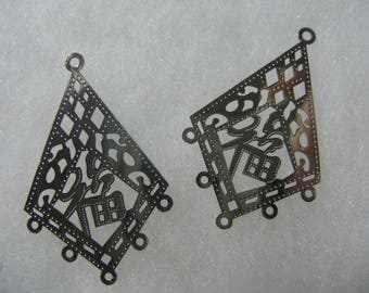 Gold Plated Lazer Lace drop Good Luck  Kite 22x 34mm - 8 Pair