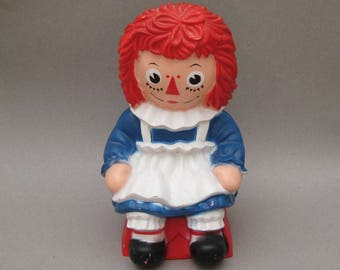 Raggedy Ann Bank with Plug Bobbs Merrill 1970s Vintage Plastic Coin Bank