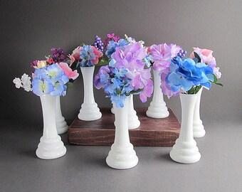 Vintage Milk Glass Bud Vases, Bud Vase Collection, Wedding Vases, Wedding Table Decorations, 9 Small Vases