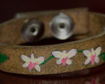 Hand tooled Orchid Flower leather bracelet