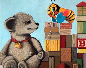 Honey Bear - still life teddy bear childrens wooden blocks original realistic still life painting