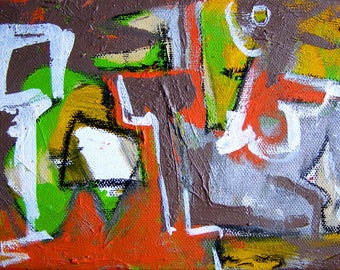 Identifiers 5x7 abstract oil painting urban expressionism