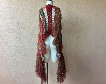 Hand Knit Scarf - Copper, Rust, Brown, Red, Brick, Paprika, Masala, Mustard, Auburn Large Scarf Long Scarf Knit Accessories with Fringe