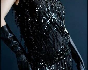 Speakeasy Dress by Kambriel - Sparkling Jet Black Sequins includes Matching Belt - Designer Sample - Brand New & Ready to Ship!