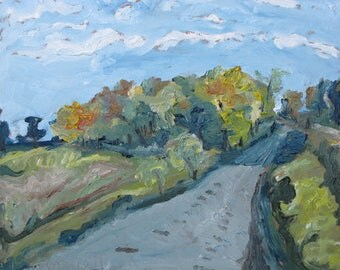 """Plein Air Small Landscape Oil Painting  Original Pochade Impressionist  Abstract Fall Quebec Canada Fournier """" Autumn Country Road """" 10 x 12"""
