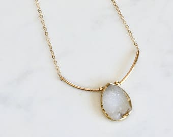 White druzy one of a kind necklace
