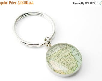 SUMMER SALE Father's Day Gifts, Fathers Day Key Chain, Vintage Map Key Ring Keychain with Handwritten Engraving.  You Select City.  brother