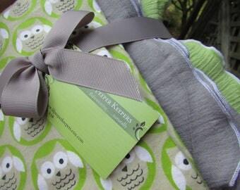 3 Swaddler Baby Blankets Owl Theme 1 Flannel, 2  Gauze, Green, Gray Cotton Gauze - newborn, toddler, baby shower gift, boy or girl