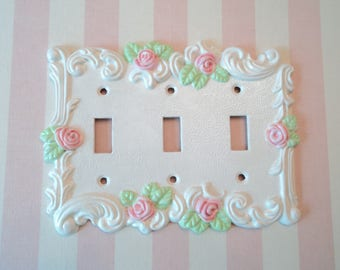 Shabby Pink Rose Triple Light Switch Plate Cover