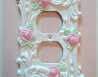Pink Rose Electrical Outlet Cover