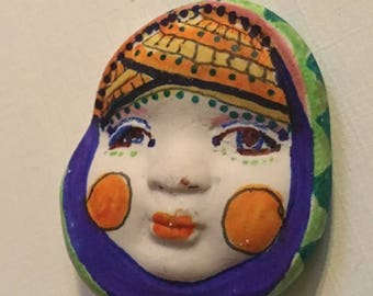 clay face jewelry craft supplies  handmade cabochon flower woman  mask  polymer  findings   doll parts head mask stripes tribal