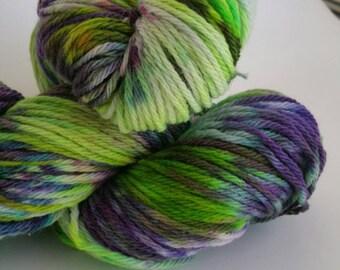 Yarn Merino Worsted SPRINGLE SPRANGLE #34 Wool Handdyed Kettle Dyed  Approx 100 gr 215 yd worsted 100 percent merino artisan multi varigated