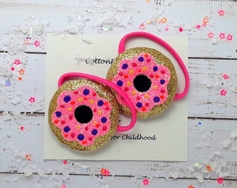 Hair ties or hair bobbles, Pair of padded glitter Doughnut hair ties, doughnut bobbles, doughnut pig tails, doughnut pony tail holders