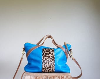 NEW//Oxford Mini in Neon Blue Leather with Leopard Hair on Hide, Top Handles, and Clip On Horween Leather Messenger Strap