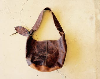 SAMPLE//Raw Edge Antique Brown Leather Hobo