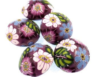 Polymer Clay Lentil Beads, Flowers, 5 Pieces