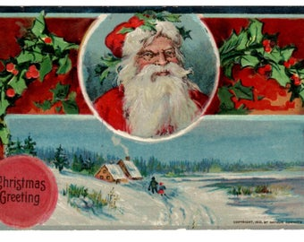 Antique Christmas Post Card with Santa 1910 by Arthur Horwitz