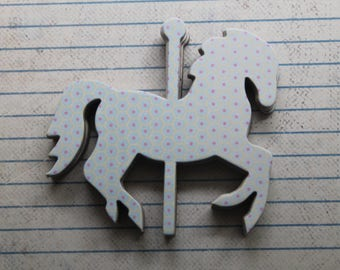 """7 Small Carousel HORSES Light Blue, Yellow, Pink chipboard covered die cuts 3 1/8"""" x 2 7/8"""" [7/8sAB]"""