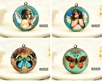 1pcs Vintage Angel & Butterfly Locket Necklace , Antique Bronze Brass Angel  Charm Pendant 32mm 25mm 20mm Locket